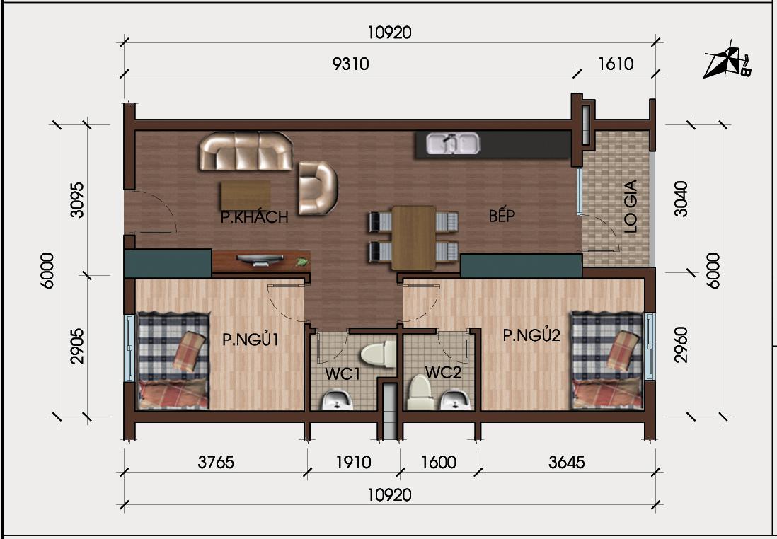 Thiết kế căn 2 phòng ngủ chung cư hh4 linh đàm