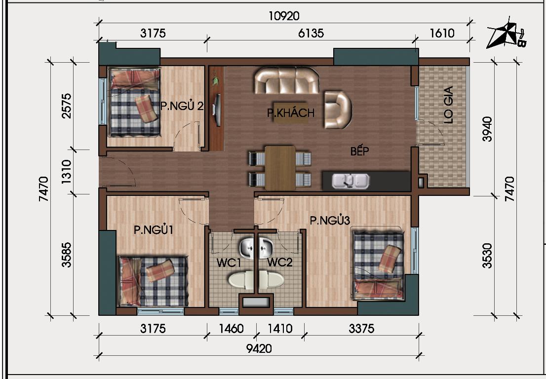 Thiết kế căn 3 phòng ngủ chung cư hh4 linh đàm