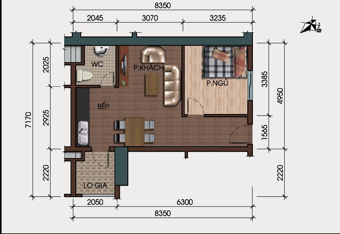 thiết kế căn hộ 1 phòng ngủ chung cư hh4 linh đàm