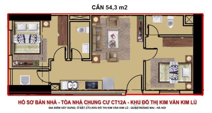 Căn hộ 54, 3 m2 chung cư Kim Văn Kim Lũ Kim Giáp 0904996126