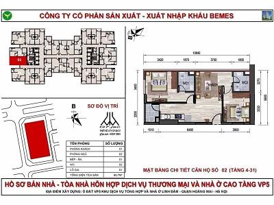 mặt bằng căn hộ chung cư có diện tích 60m2