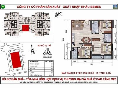 mặt bằng căn hộ chung cư vp5 linh đàm có diện tích 90 m2
