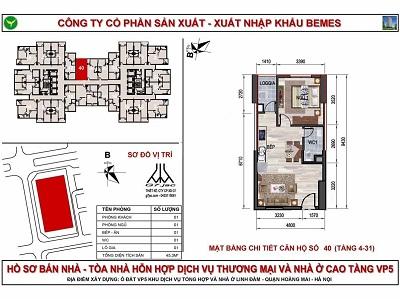 mặt bằng căn hộ chung cư co có diện tích 45,3 m2