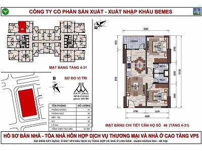 mặt bằng căn hộ chung cư có diện tích 60.1 m2