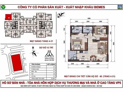 mặt bằng căn hộ chung cư Vp5 linh đàm có diện tích 72,2 m2