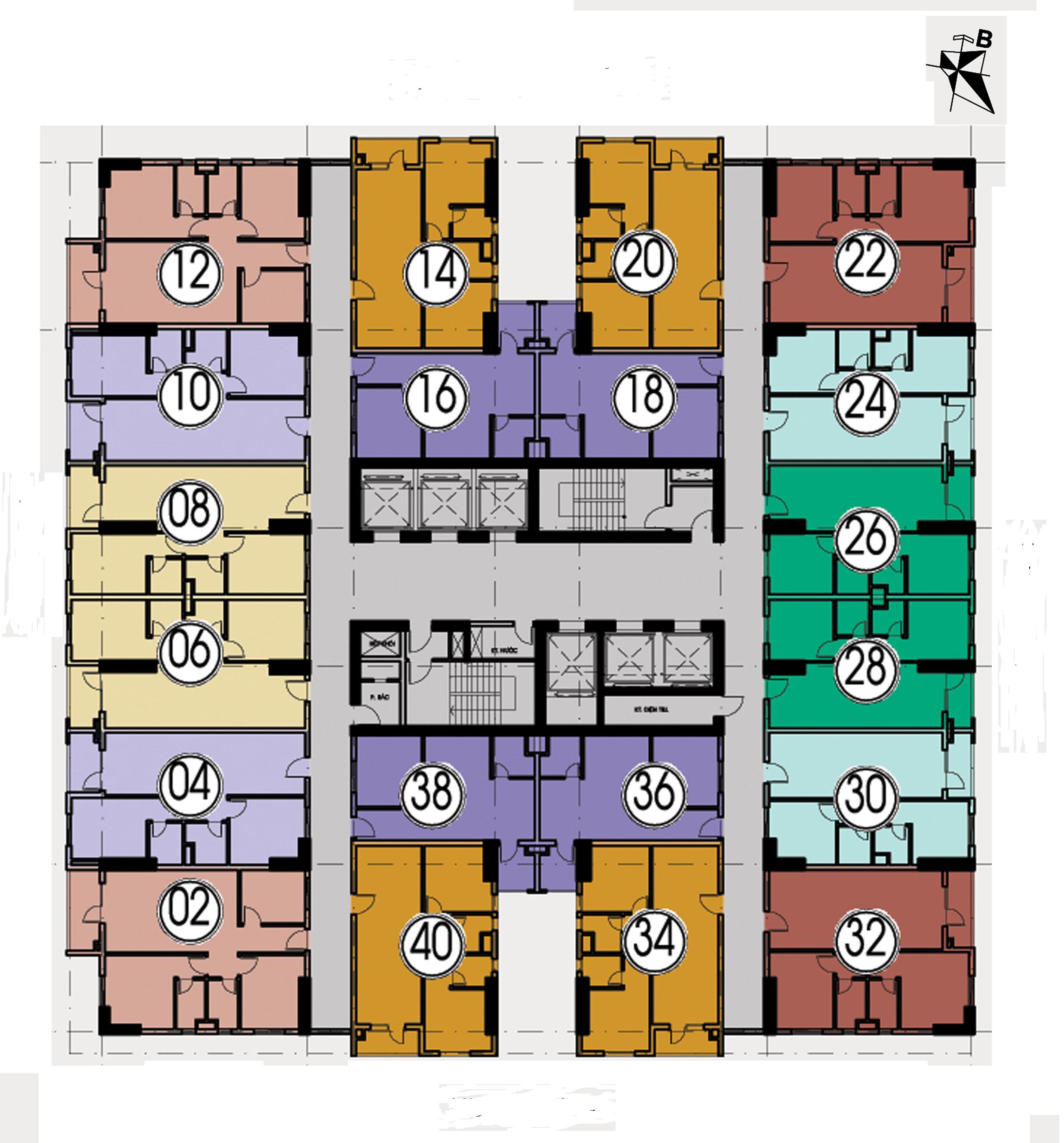 mặt bằng thiết kế chung cư hh4 linh đàm