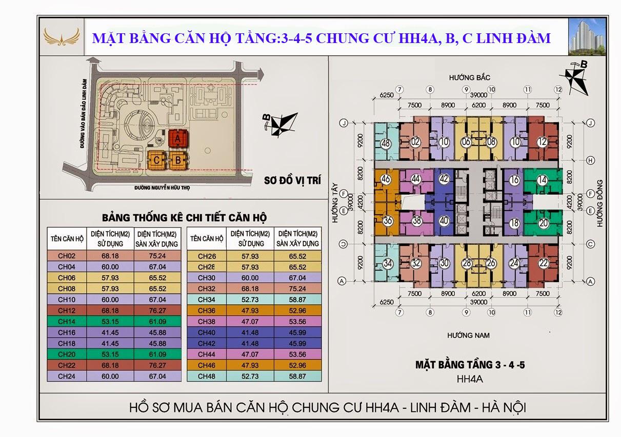 Sơ đồ thiết kế Chung cư HH1 Linh Đàm tầng 3, 4 ,5 - 0917078221
