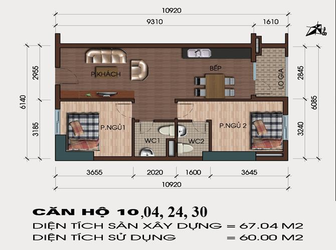 thiết kế căn hô 04, 10 , 24, 30 chung cư hh4 linh đàm