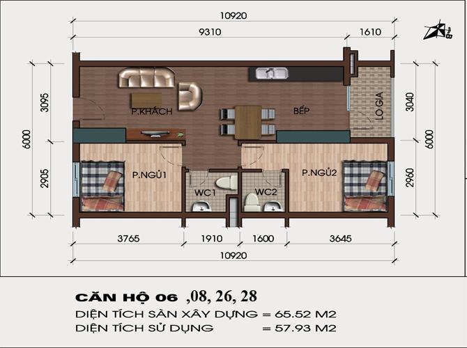 Thiết kế căn hộ 06, 08, 26, 28 chung cư hh4 linh đàm