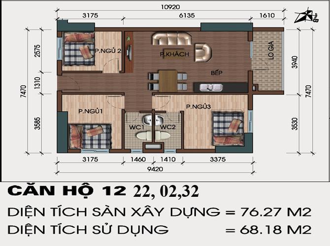thiết kế căn hộ 12,02,22,32 chung cư hh4 linh đàm