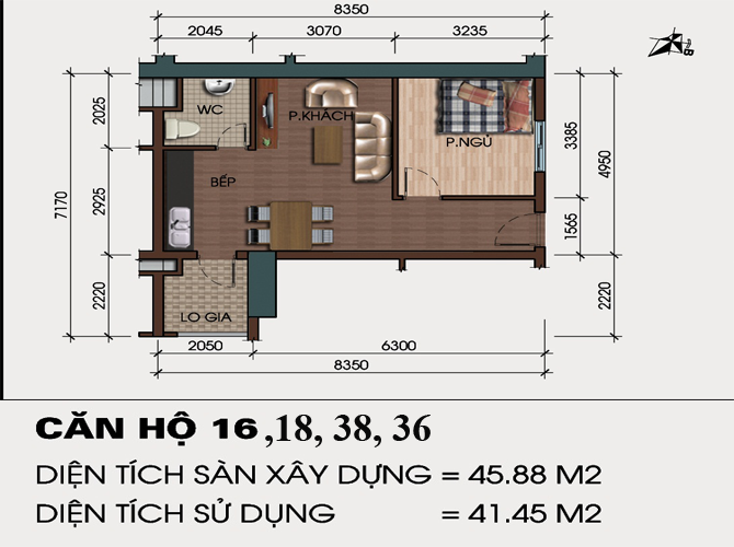 Căn hộ 45m2 chung cư HH4 Linh Đàm 1 phòng ngủ 0917078221