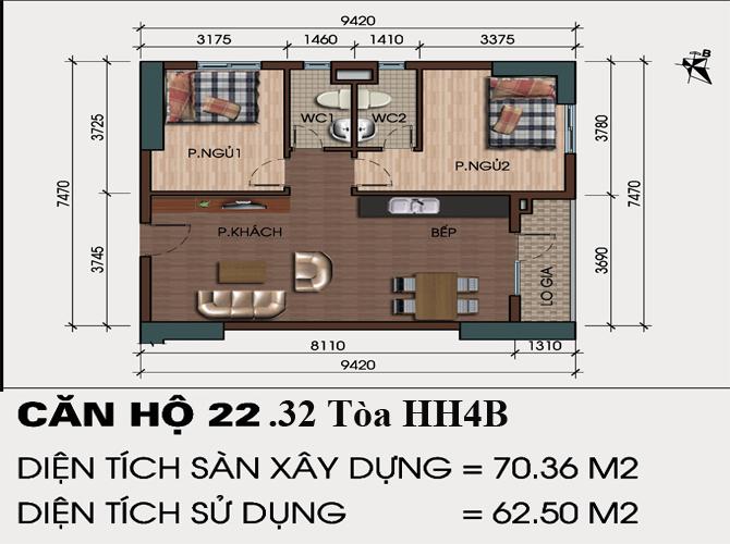 thiết kế căn hô 22, 32 chung cư hh4b linh đàm
