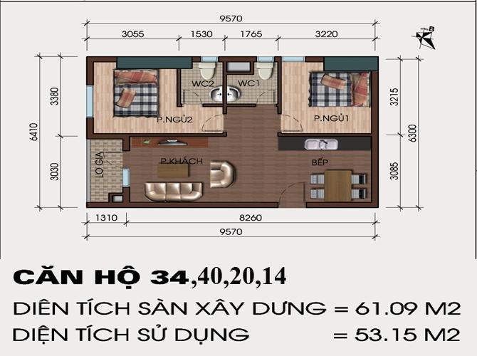 Thiết kế căn hộ 34,40,20,14 chung cư hh4 linh đàm